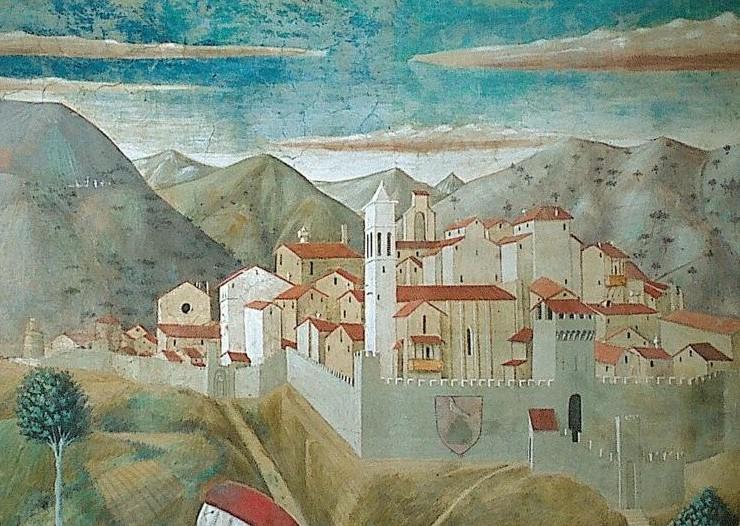 Montefalco, particolare da affresco di Benozzo Gozzoli